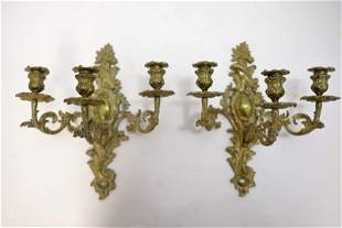 Pair 19c French Dore Bronze Sconce Candle Holders
