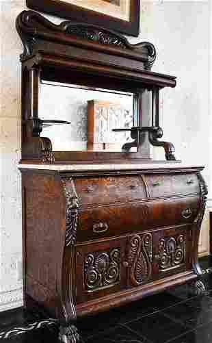 1880's Oak Server w Griffins & Shells Attr. Horner