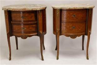 Pr 19c Louis XV Marble Top 2 Drawer Lamp Tables