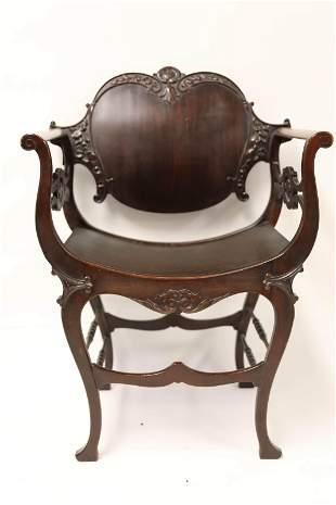19c Cherry Wood Savonarola Gothic Chair