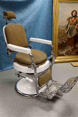 Antique Koken Barbers Chair w Enamel & Chrome