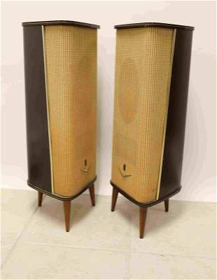 Pr Vintage Grundig Stereo Box IV Speaker Cabinets