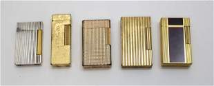 (5) Vintage Butane Lighters 4- Dupont & 1- Dunhill