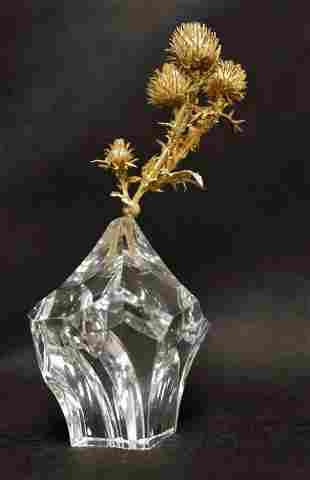 Steuben Crystal Rock w Dore Bronze Thistle