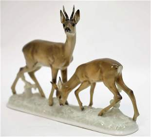 Vintage Rosenthal Buck & Doe Deer Sculpture