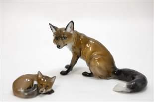 (2) 1930's Rosenthal Porcelain Fox Figurines
