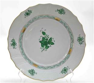 (6) Herend Chinese Bouquet Green Dinner Plates