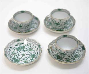 7 pcs Meissen 'Indian Flower' Green Demitasse Cups