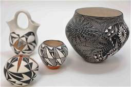 (4) Acoma NM American Indian Pottery Vessels