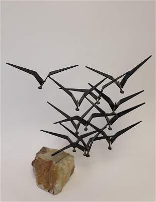 70s Curtis Jere Flock Birds Steel & Onyx Sculpture