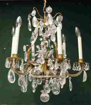 Hollywood Regency Rock Crystal & Iron Chandelier