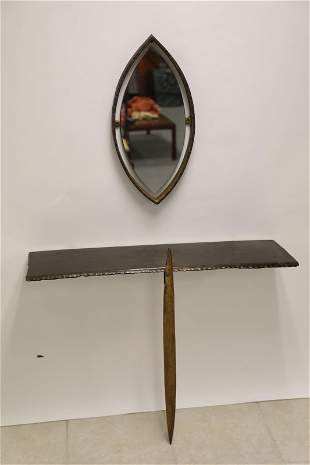 French Modernist Found Metal Steel Consol & Mirror