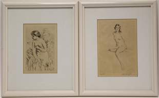 (2)pc Morris Hobbs & Renoir Etchings of Nude Women