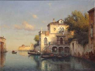 Antoine Bouvard (French 1870-1956) Venice Gondolas