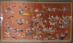 Chinese Embroidered Silk Panel w Cranes on a Lake