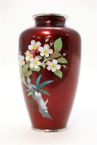 Japanese Cloisonne on Silver Floral Vase