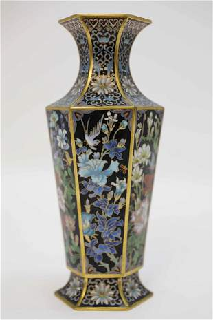 Chinese Cloisonne Enamel Hexagonal Form Vase