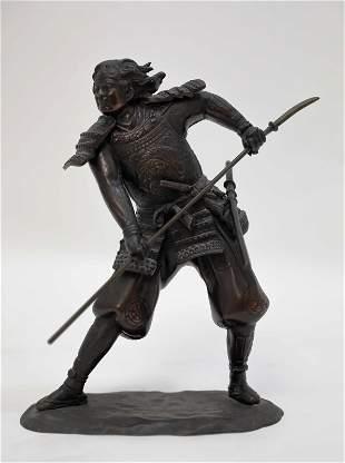 Japanese Bronze Sculpture of a Warrior