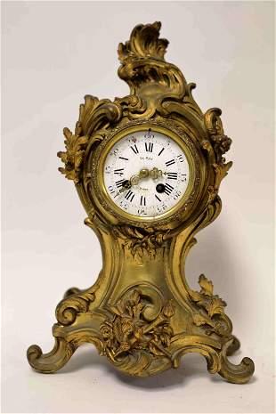 19c French Le Roy / Thieble Bronze Mantle Clock