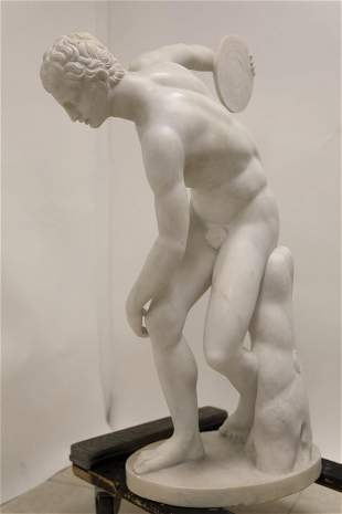 Italian Marble Sculpture Olympian Discus Thrower
