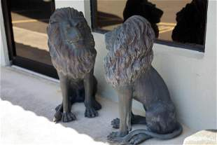 Pr Large Bronze Garden or Driveway Seated Lions