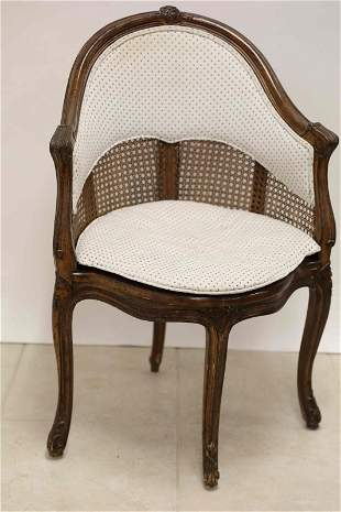 Louis IV French Corner or Desk Chair w Cane Sides
