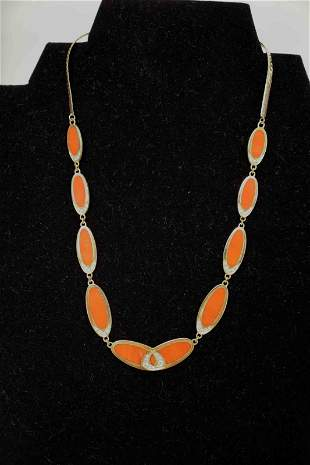 Italian 14k Gold Red Coral & Diamond Necklace