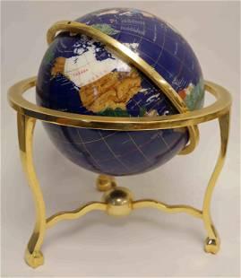 Large Brass & Semi Precious Stone World Globe