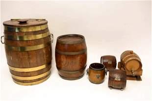 (6) Oak Barrel Form Containers w Ice Bucket