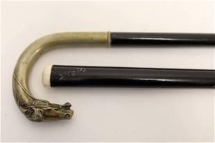 (2) Ebonized Walking Sticks (1) Horse Head Handle
