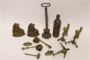 (9)pc Antique Brass Doorstop, Bookends, Anchor ++