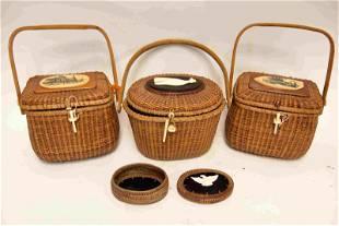 (3) Woven Nantucket Baskets w (1) Change Purse