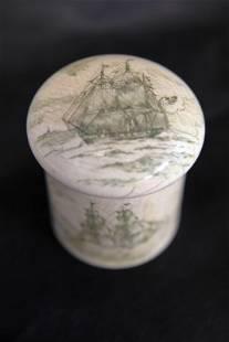 19c Scrimshaw Lidded Dresser Jar w Powder Puff
