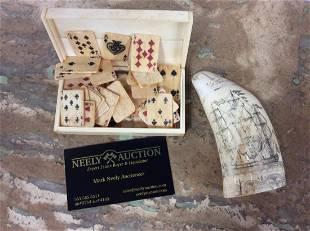 19c Bone Playing Cards w Scrimshaw Clipper Ship