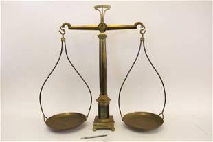 19c Large Brass Pharmacist Columnar Balance Scale