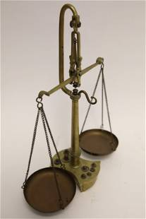 19c Brass Pharmacist Scales w Weights