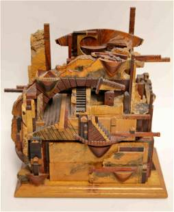 Vintage Mixed Burl Wood Jewelry Puzzle Box