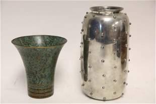 Leon Fontier Pewter & Carl Sorenson Bronze Vases