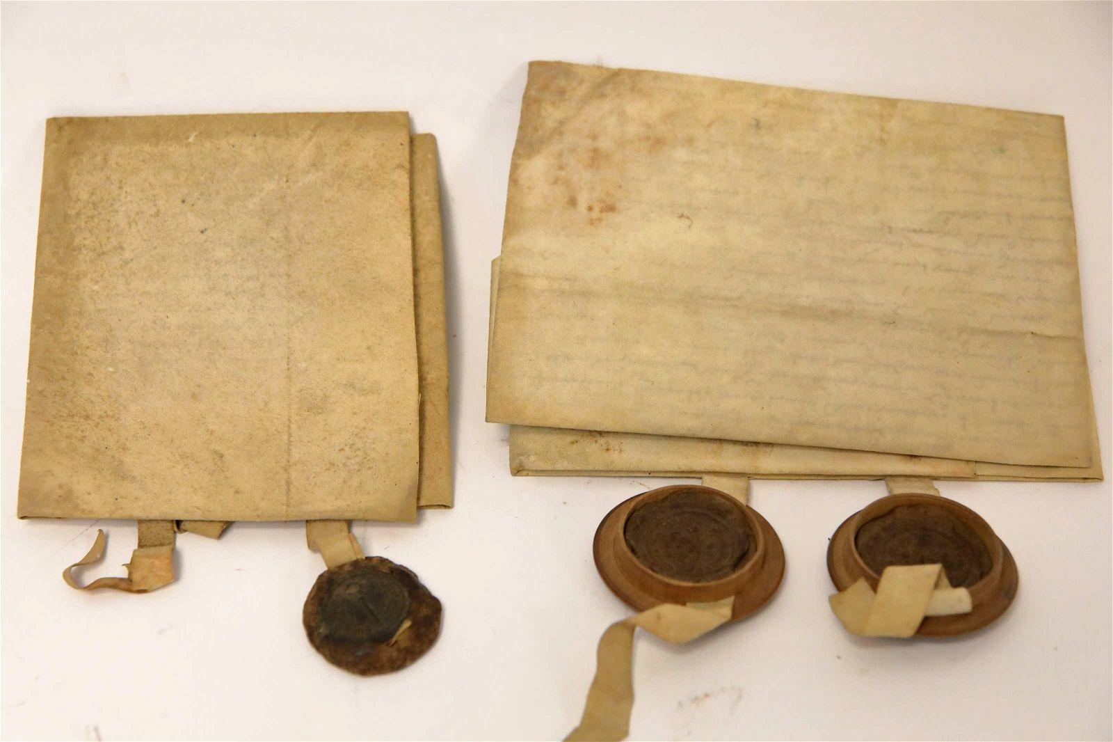(2) 16th Century Documents Pen & Ink on Vellum
