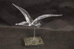 Daum France Mounted Art Glass Goose in Flight