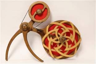 David C Roy Wind Up Kinetic Wood Sculpture ca 1976