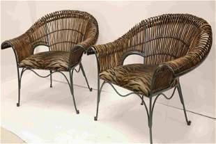Pair Wrought Iron & Bent Reed Safari Style Chairs