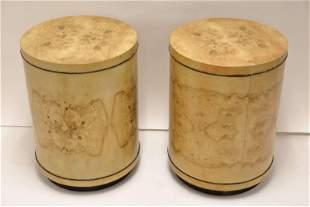 2 Henredon Scene II Cylindrical Burl Wood Cabinets