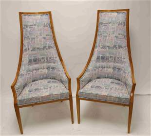 (2) Hollywood Regency High Back Occasional Chairs