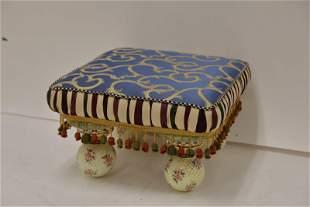 Mackenzie Childs Footstool w Painted Porcelain leg