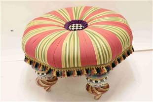 Mackenzie Childs Tufted Ottoman Striped Upholstery
