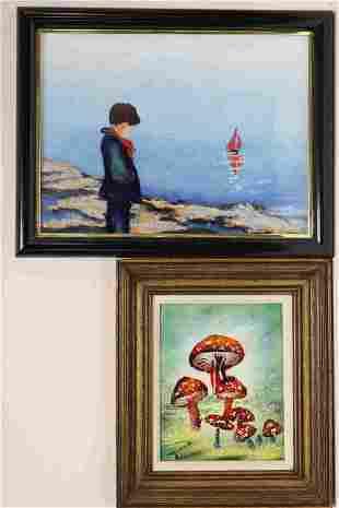 (2) Enamel Copper Paintings Boy w Boat & Mushrooms