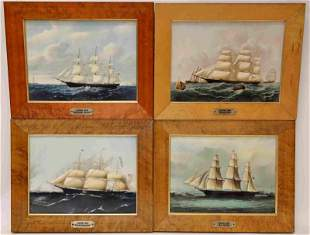 4-19c Clipper Ships on Wedgewood Porcelain Plaques
