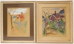 Pr Krasner Gouache on Paper Village Scenes ca 1948
