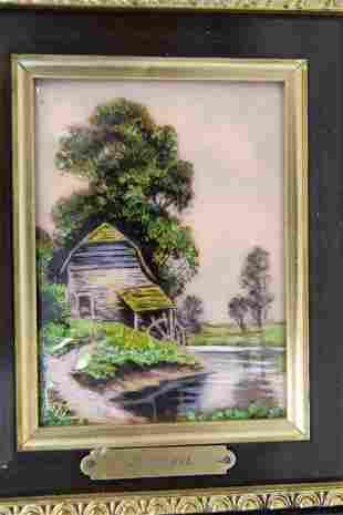 19c Limoges French Enamel Pastoral Mill Scene